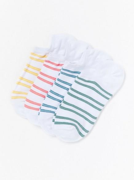 Raidalliset varrettomat sukat, 4 paria Valkoinen