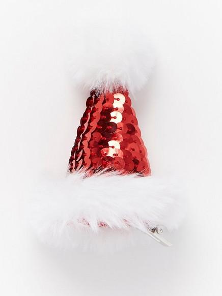 Hårspenne med nisselue Rød