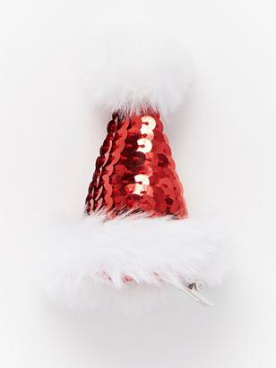 Hair Clip with Santa Hat Red