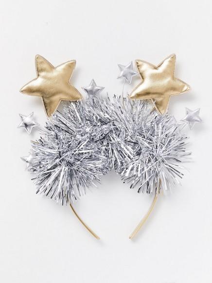 Hårbøyle med glitter og stjerner Metall