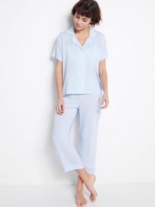 Proužkovaný pyžamový kabátek Modrá