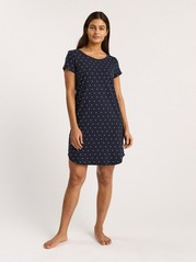 Navy Night Dress with Dots  Blue