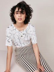 Cotton Top with Print  White