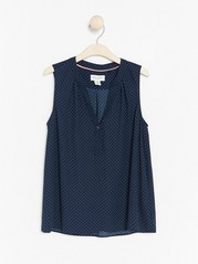 Dotted Sleeveless Blouse Blue