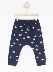 Loose Bird Patterned Trousers Blue