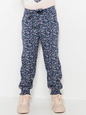 Flower Patterned Viscose Trousers Blue