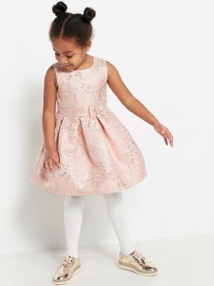 Pink Jacquard Dress Yellow