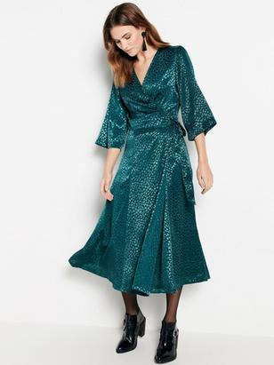Jacquard Wrap Dress Green