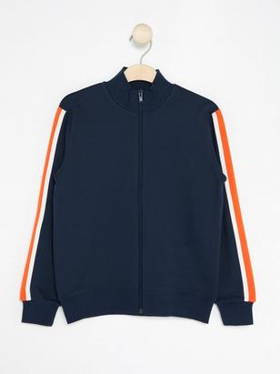 Zip Sweatshirt with Sleeve Stripes Blue