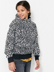 Hooded Sweater with Print White