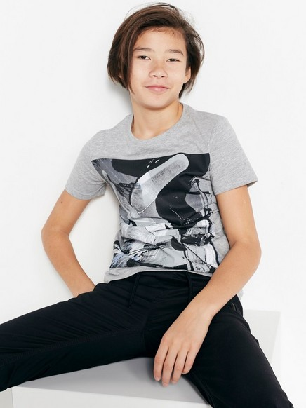 T-skjorte med trykk Grå