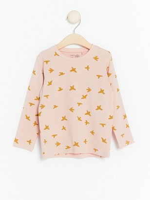 Long Sleeve Top with Birds Pink