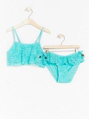 Bikini with Crochet Flounce Aqua