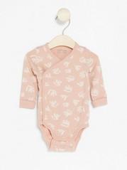 Wrap Bodysuit with Leaf Pattern Pink