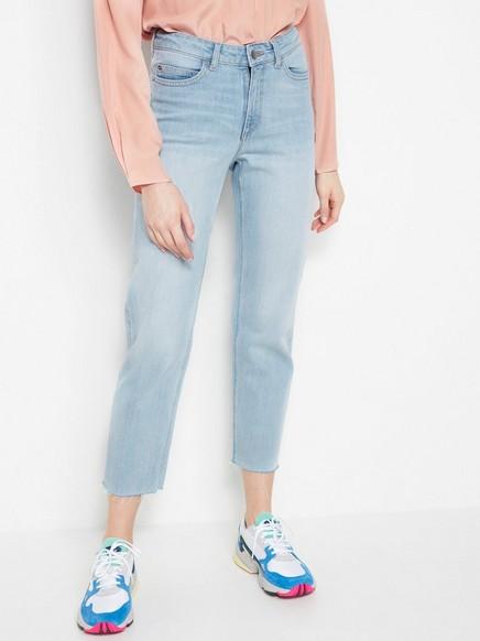 Avkortet, rett NEA-jeans med høy midje Blå