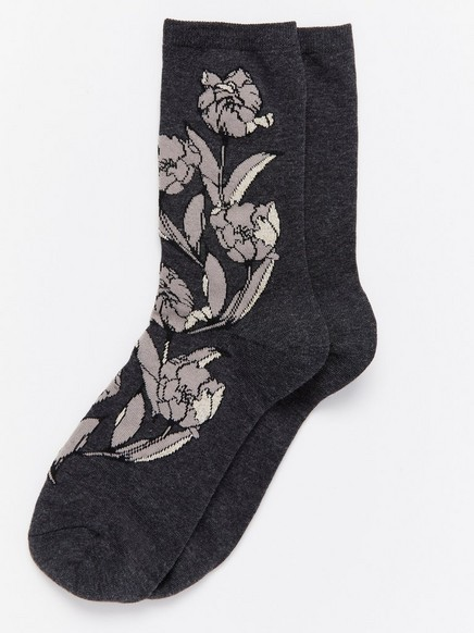 Jakardikuvioidut sukat Musta