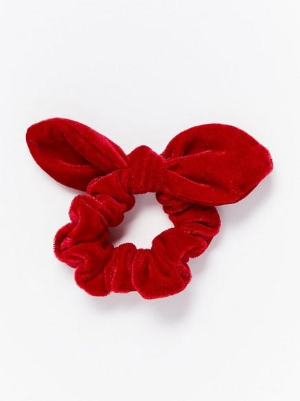 Sametová gumička do vlasů smašlí Červená
