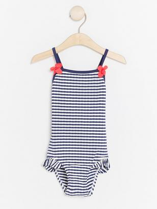 Striped Swimsuit with Flower Decoration Blue
