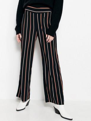 Proužkované široké kalhoty LYKKE Černá