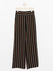 LYKKE Striped Wide Trousers  Black