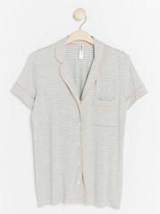 Proužkovaný pyžamový kabátek Šedivá