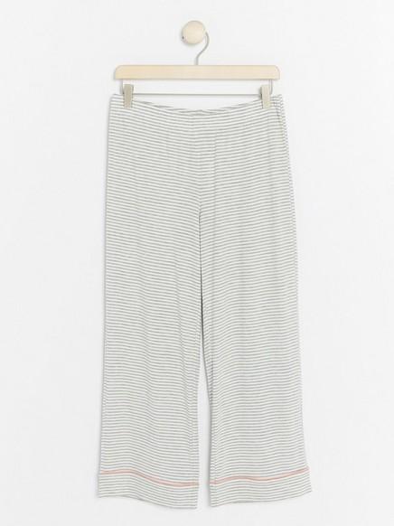 Raidalliset pyjamahousut Harmaa