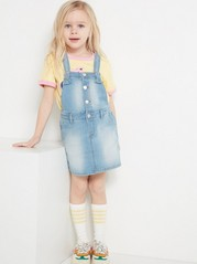 Denim Dungaree Dress Blue