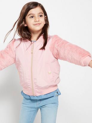 Bomber Jacket with Fake fur Sleeves Pink