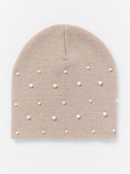 Pletená čepice sperličkami Běžová