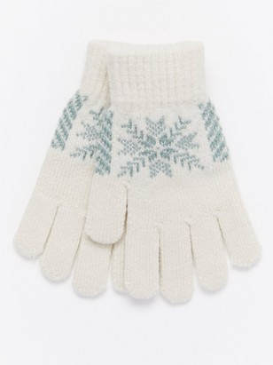 Knitted Gloves with Snowflakes White
