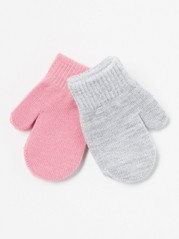 2-pack Knitted Mittens Pink