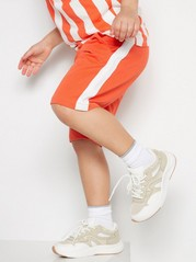 Jersey Shorts with Side Stripes Orange