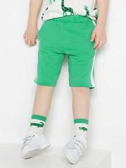 Žerzejové šortky spostranními pruhy Zelená