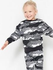 Patterned Oversized Sweatshirt Black
