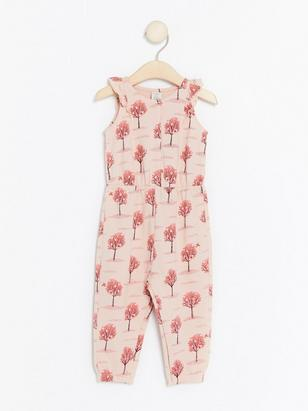 Jumpsuit with Pattern of Trees Pink