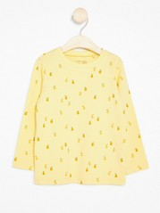 Long Sleeve Top with Fruits Yellow