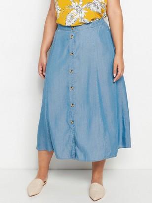 Džínová lyocellová sukně sknoflíky Modrá