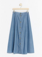 Lyocell Denim Skirt with Buttons  Blue