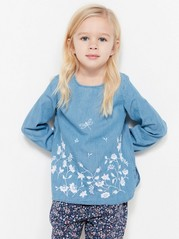 Blouse with Floral Embroidery Blue