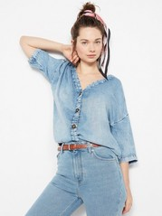 Denim Lyocell Blouse  Blue