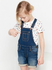 Jersey Denim Dungaree Shorts Blue