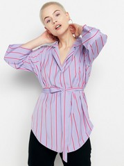 Striped Blouse with Tie Belt  Lilac