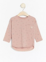 Top with Chestpocket and Pattern Pink