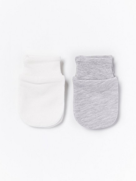 2-pakning med votter som ikke klør Hvit