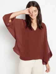 V-neck chiffon top Red