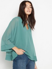 V-neck chiffon top Aqua