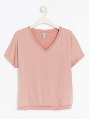 Short Sleeve V-neck Top  Pink