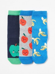 3-pack Socks with Fruit Motifs Blue