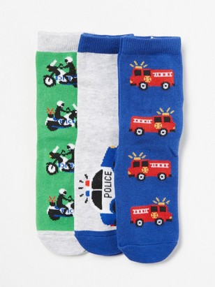 3-pack Socks with Vehicles Blue