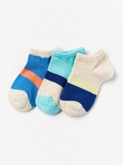 3-pack Footies with Colour Blocks Turquoise